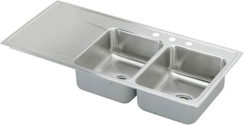 Elkay ILR4822R5 48 Inch Drop In Double Bowl Stainless Steel Sink With  18 Gauge, 7 1/2 Inch Bowl Depth And Bowls Right Of Single Drainboard: 5  Holes