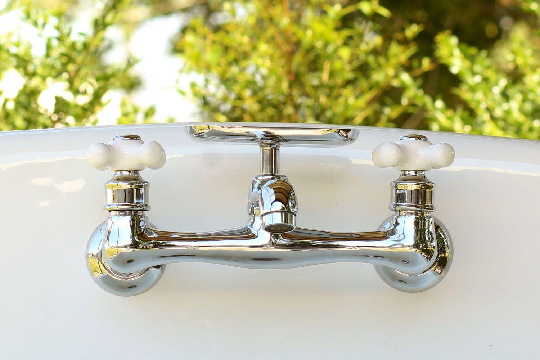 Chrome Wall Swivel Spout Utility Bridge Faucet Porcelain X Handle