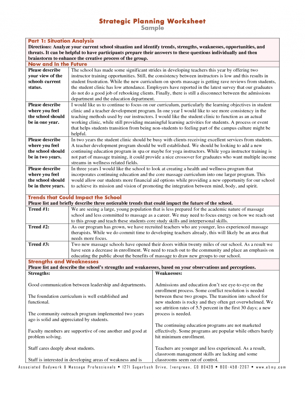 Worksheet Sample Strategic Planning Worksheets