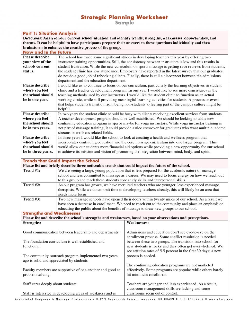 Worksheet Sample Strategic Planning Worksheets