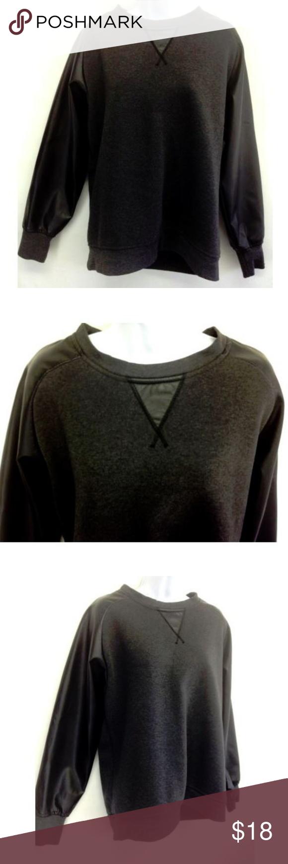 Nwot Repair Women Black Faux Leather Sweatshirt L Nwot Repair Women S Top Blouse Charcoal Body Black Faux Lea Leather Sweatshirt Sweatshirts Black Faux Leather [ 1740 x 580 Pixel ]