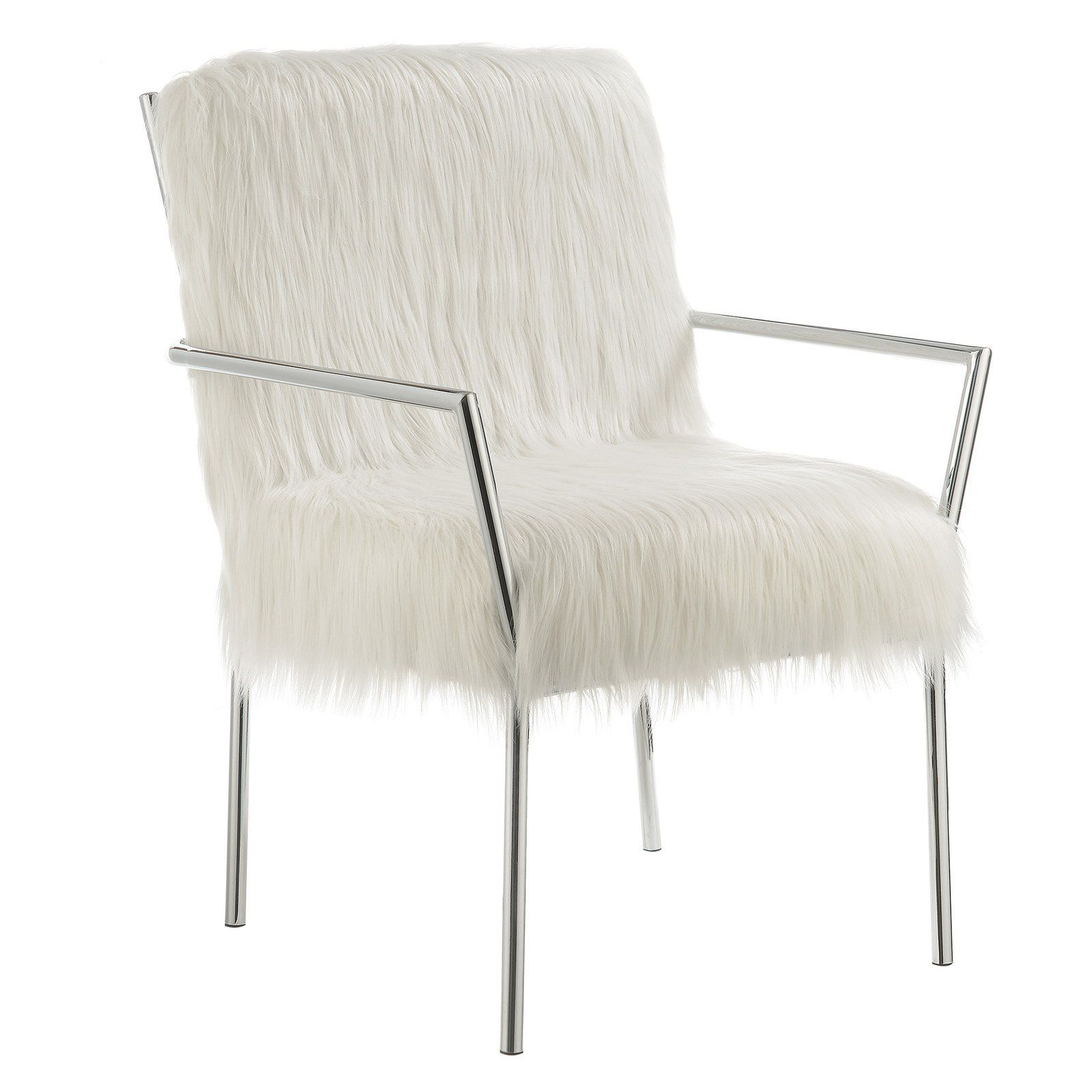 Phenomenal Coaster Furniture Fluffy Metal Accent Chair In 2019 White Andrewgaddart Wooden Chair Designs For Living Room Andrewgaddartcom