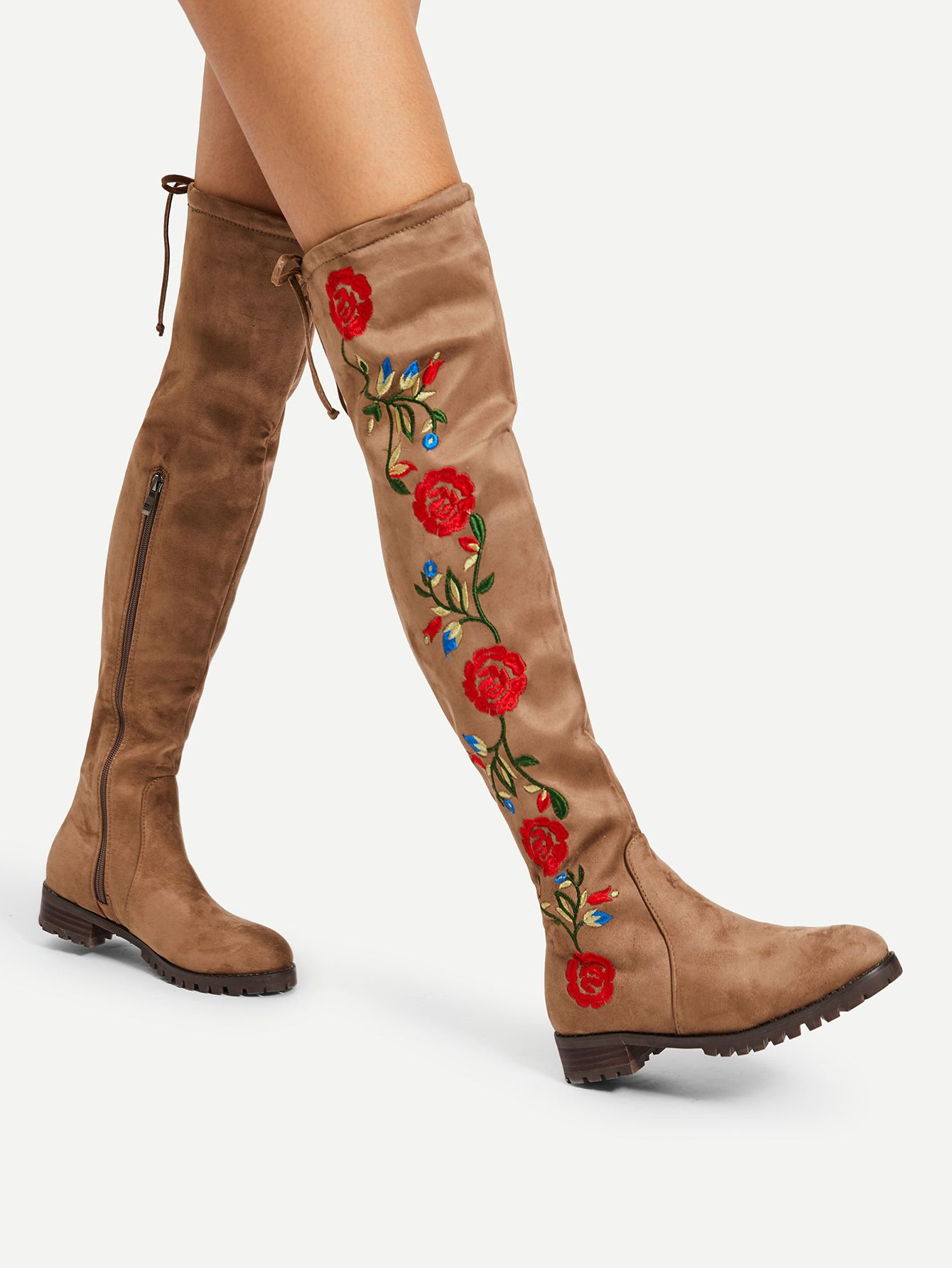 0e3ea34c6c885 Shop Flower Embroidery Over The Knee Boots online. SheIn offers Flower  Embroidery Over The Knee Boots   more to fit your fashionable needs. Botas  por encima ...