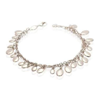 This glitering bracelet is created in sterling silver where multiple highly polished oval shaped discs cascade along the wrist beautifully. Each indiv