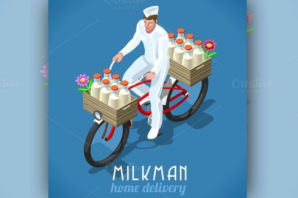 Home Delivery Isometric Milkman Vintage Concepts Milk Man Milk Advertising