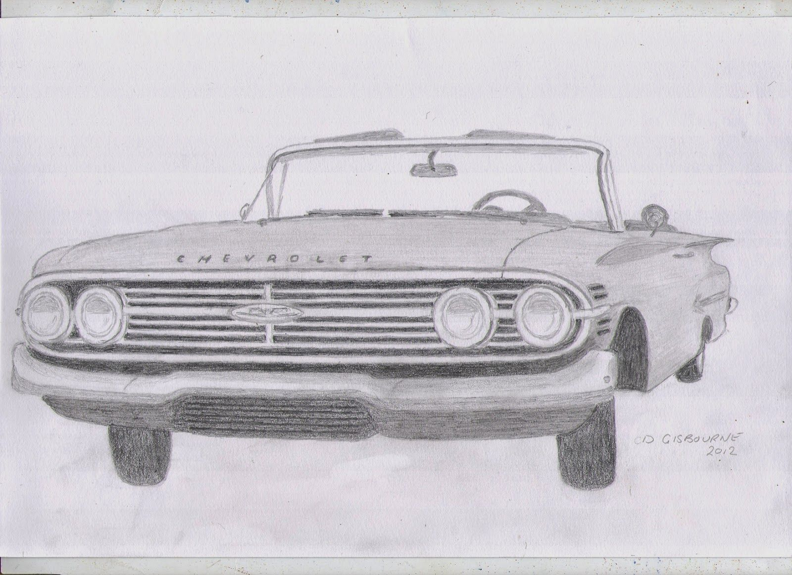 Pencil Drawing Of A 1960 Chevrolet Impala Cars Pinterest
