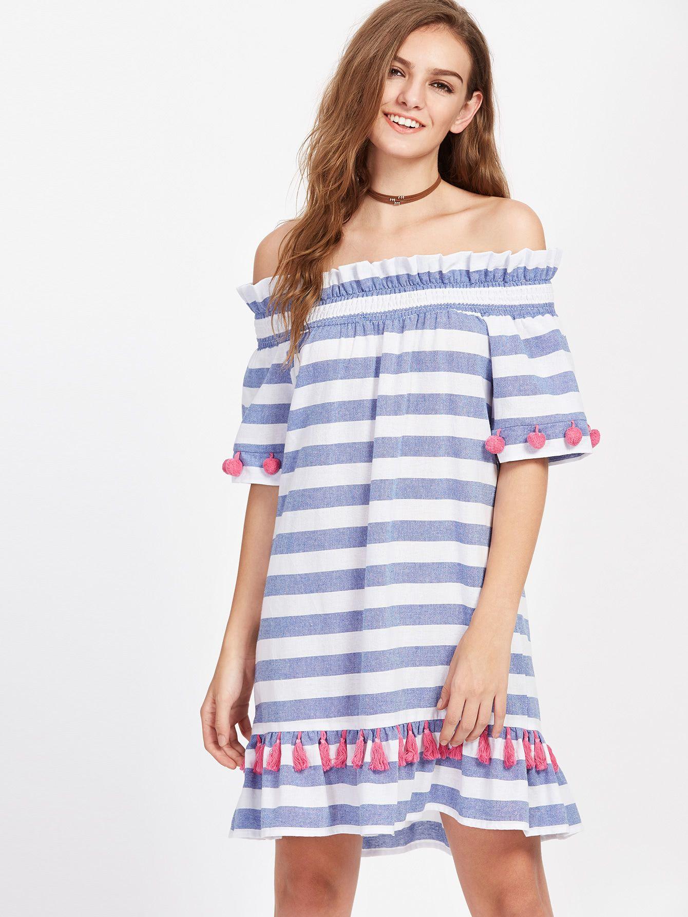 6cba482b7e Shop Shirred Off Shoulder Pom Pom And Tassel Embellished Striped Dress  online. SheIn offers Shirred Off Shoulder Pom Pom And Tassel Embellished  Striped ...