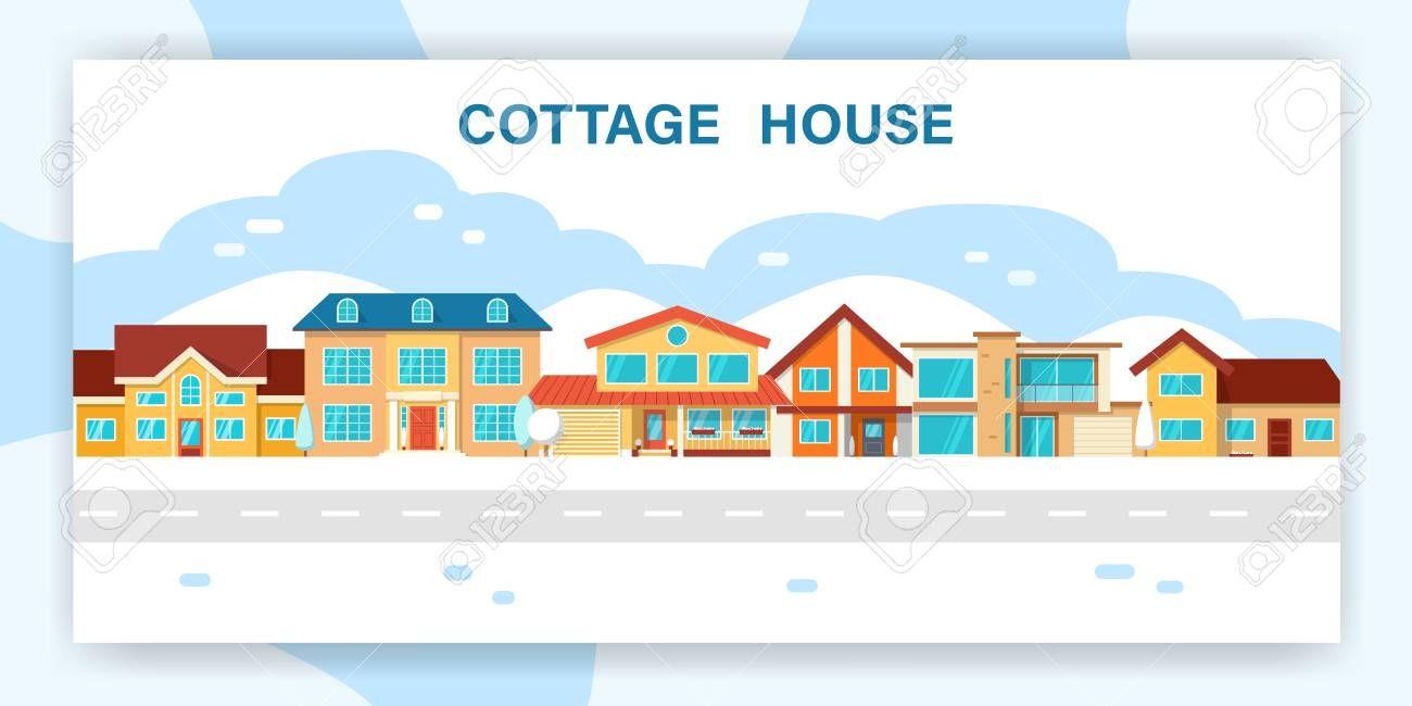 Modern winter cottage house Illustration