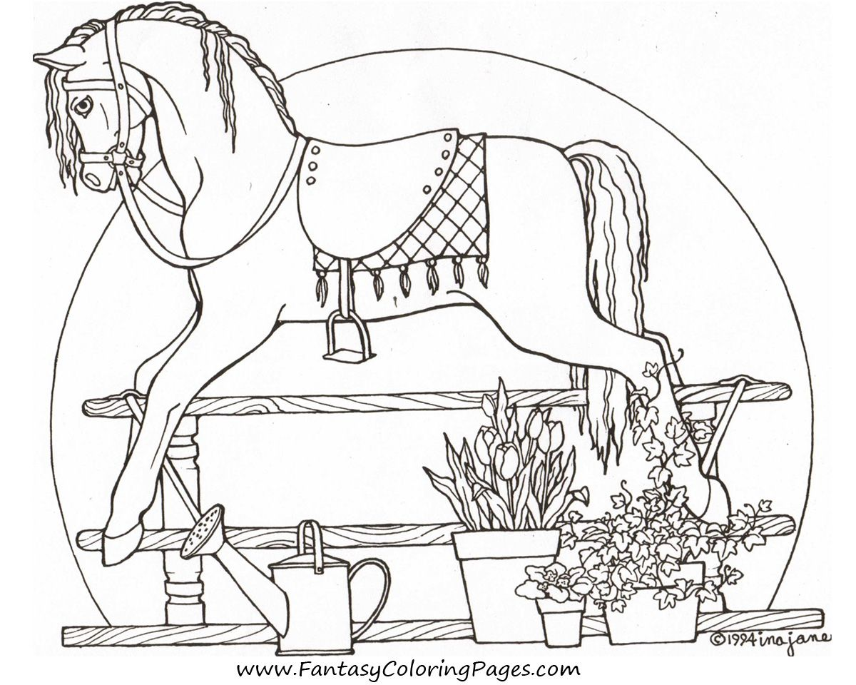 free-coloring-pages-rocking-horse-1   Carousel Horses   Pinterest