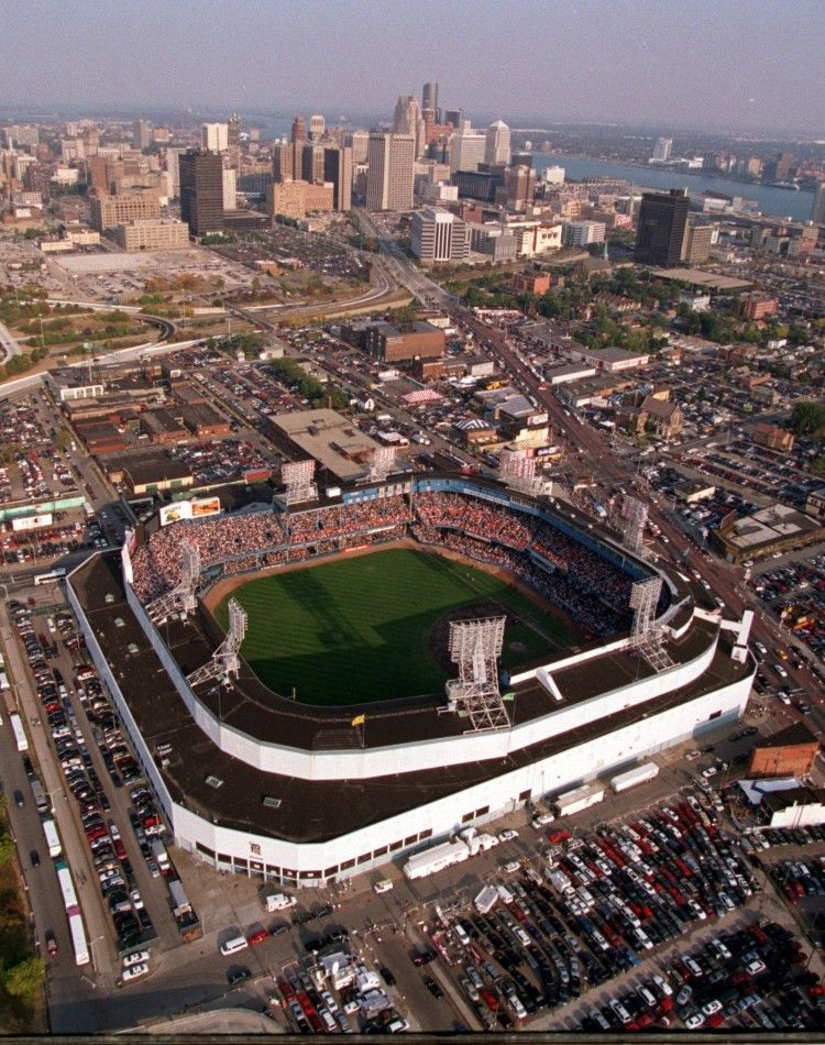 Aerial view of the former Tiger Stadium with the downtown