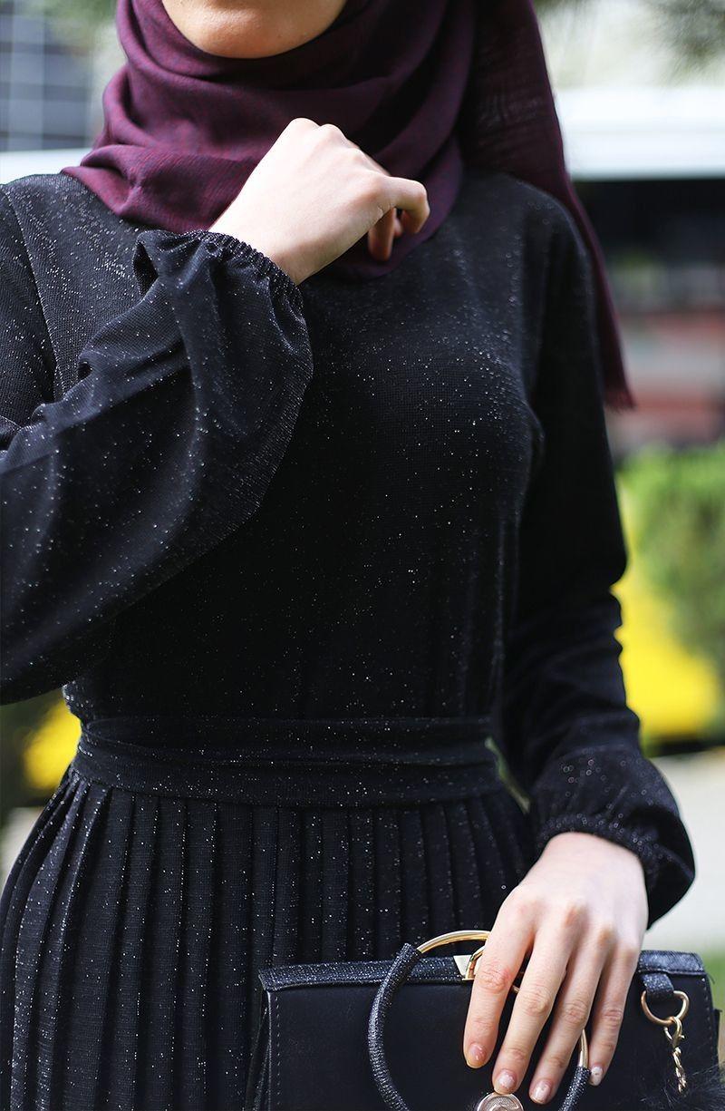 Piliseli Simli Elbise Siyah Tesettur Tukenenler Suhneva Elbise Kadin Giyim Payet Elbise