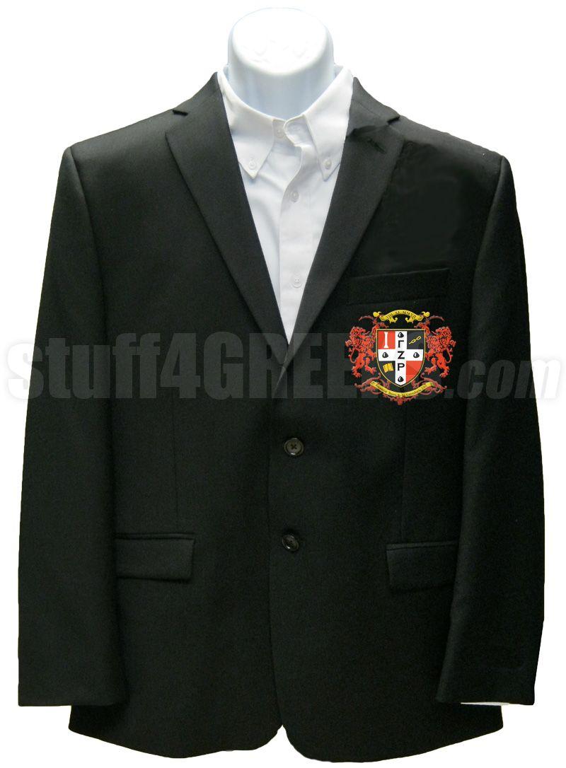 Black Gamma Zeta Rho blazer jacket with the crest on the left breast.