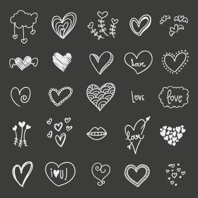 バレンタインデー,ハートマーク型,羽根付き,翼,口,唇,ハートを射止める矢,手描き風 ベクターイラスト素材