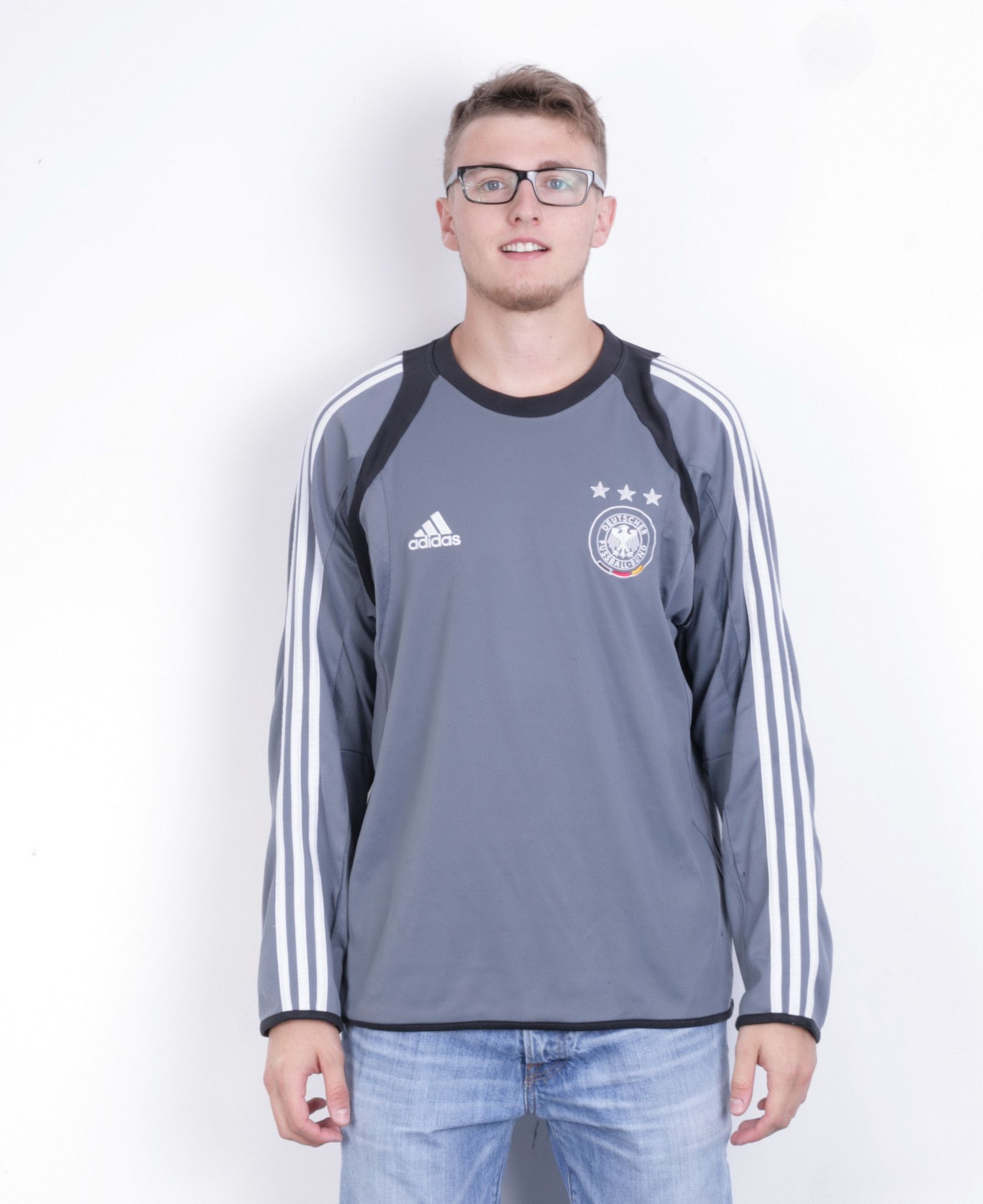 Adidas Deutscher Fussball-Bund Mens 46/48 2XL Shirt Long Sleeve Grey Football Club Germany