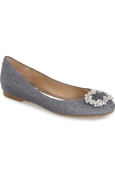 Badgley Mischka 'North' Crystal Embellished Round Toe Flat (Women) available at…