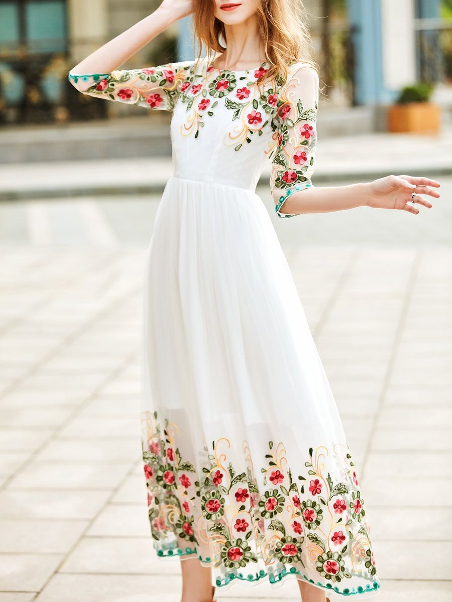 3 4 Sleeve Girly Floral-embroidered A-line Evening Dress - StyleWe ... 965e1f8de8e