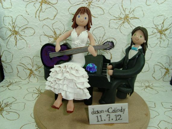 Customized Music Theme Wedding Cake Topper by mudcards on Etsy, $160.00