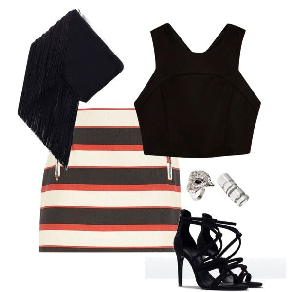 Woven stripe mini skirt by alwayswearwhatyouwanttowear on Polyvore featuring River Island, Zara, H&M, outfit, outfits and fashionset