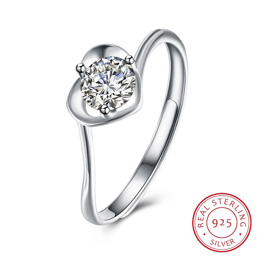 Women 925 Silver Plated Open Hollow Heart Rings Wedding Party Jewelry Adjustable
