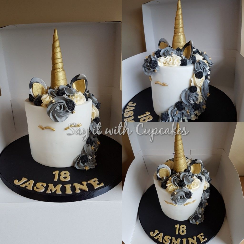 Black Gold Unicorn Cake 35th Birthday Cakes Unicorn Birthday
