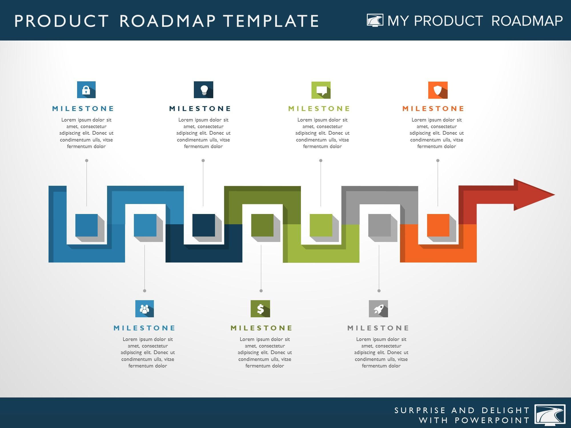 Seven Phase It Strategy Timeline Roadmapping Powerpoint Diagram