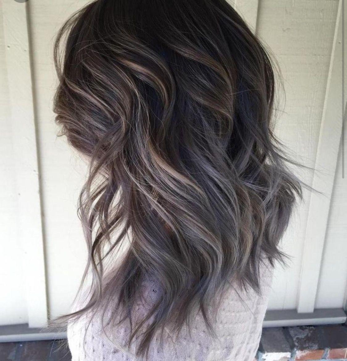 Ash Brown Black Hair Hair Styles Grey Hair Color Dark Hair With Highlights