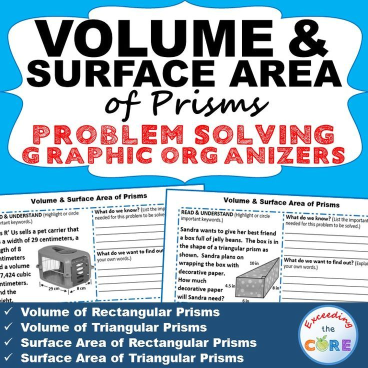 Volume And Surface Area Of Prisms Word Problems With Graphic