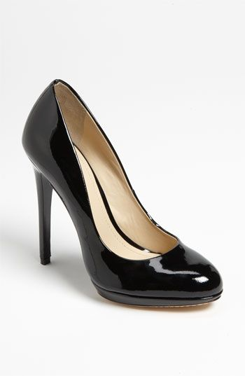 Brian Atwood Brian Atwood Classic Black Patent Leather Round Toe Shoes Heels Pumps