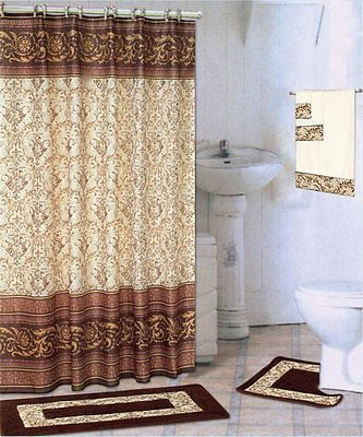 18 Piece Bath Rug Set Chocolate Coffee Design Rugs Shower Curtain Rings Towels