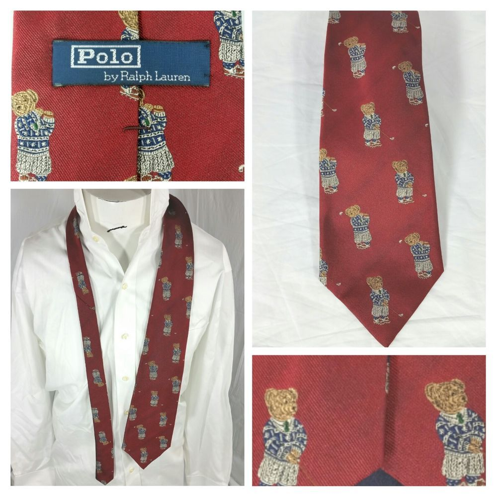 99071bd950bf Ralph Lauren Polo Vintage Teddy Bear Silk Red Tie Playing Golf 54