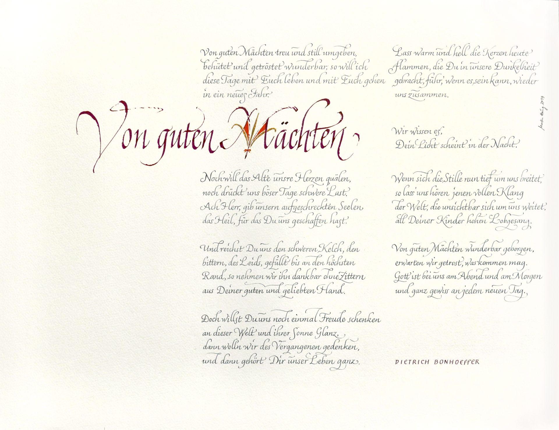 Das Lied Von Guten Machten Text Dietrich Bonhoeffer Markiert Wichtige Eckpunkte In Meinem Leben Schriftkunst Leben Lesen
