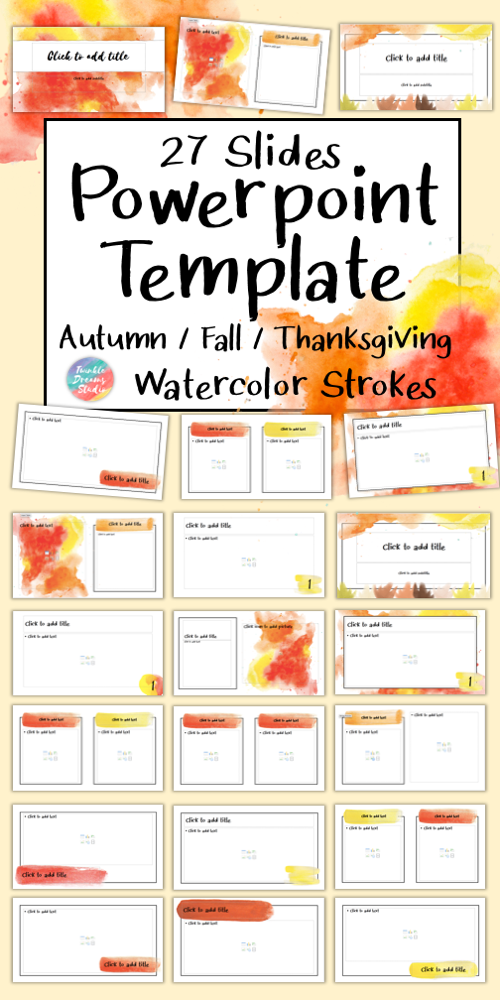 Editable Class Powerpoint Template Autumn Thanksgiving