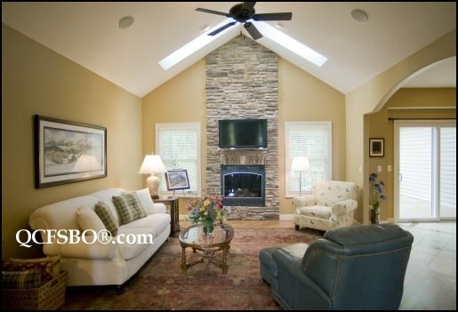 stone fireplace with cathedral ceiling | Family Room ...