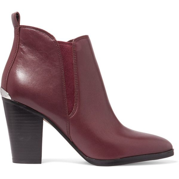 MICHAEL Michael Kors Brandy matte-leather ankle boots (£98) ❤ liked on Polyvore featuring shoes, boots, ankle booties, burgundy, leather booties, short boots, burgundy booties, high heel boots and high heel booties