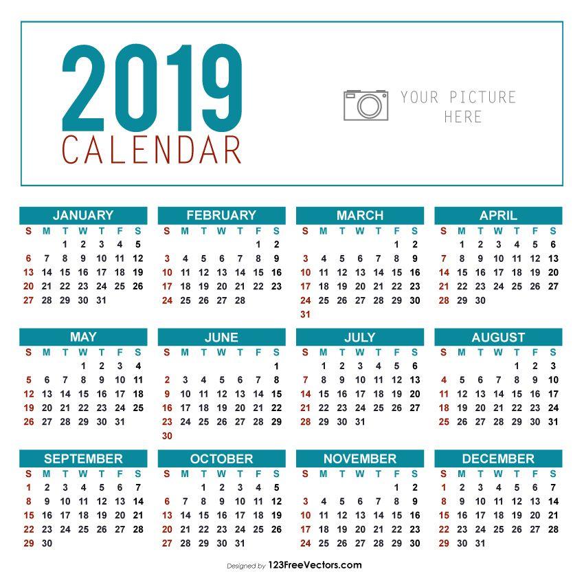 Calendario 2019 Illustrator.Yearly Calendar Template 2019 2019 Calendar Yearly