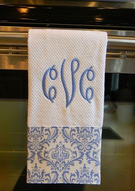 Monogrammed Dish Towel. via Etsy--great idea