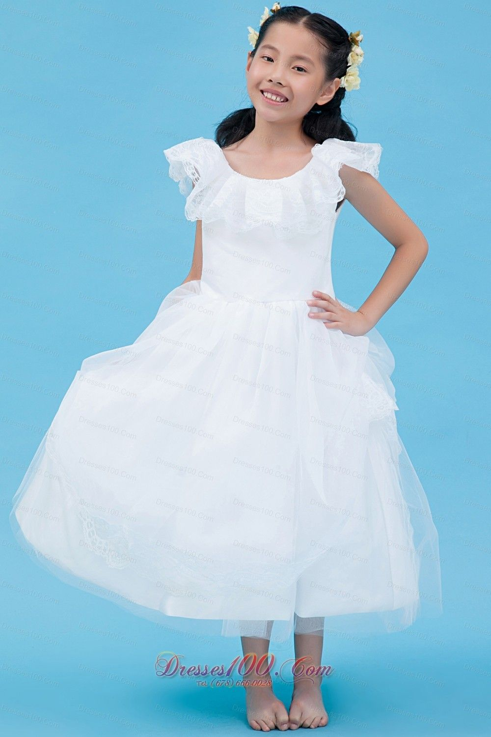08553b6fcbf New White A-line Scoop Flower Girl Dress Ankle-length Tulle Lace ...