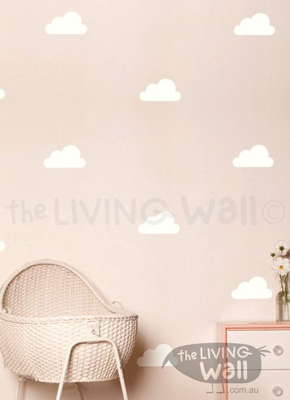 Happy Clouds Wall Decals Cloud Decal White Cloud Wall Stickers - Nursery wall decals clouds