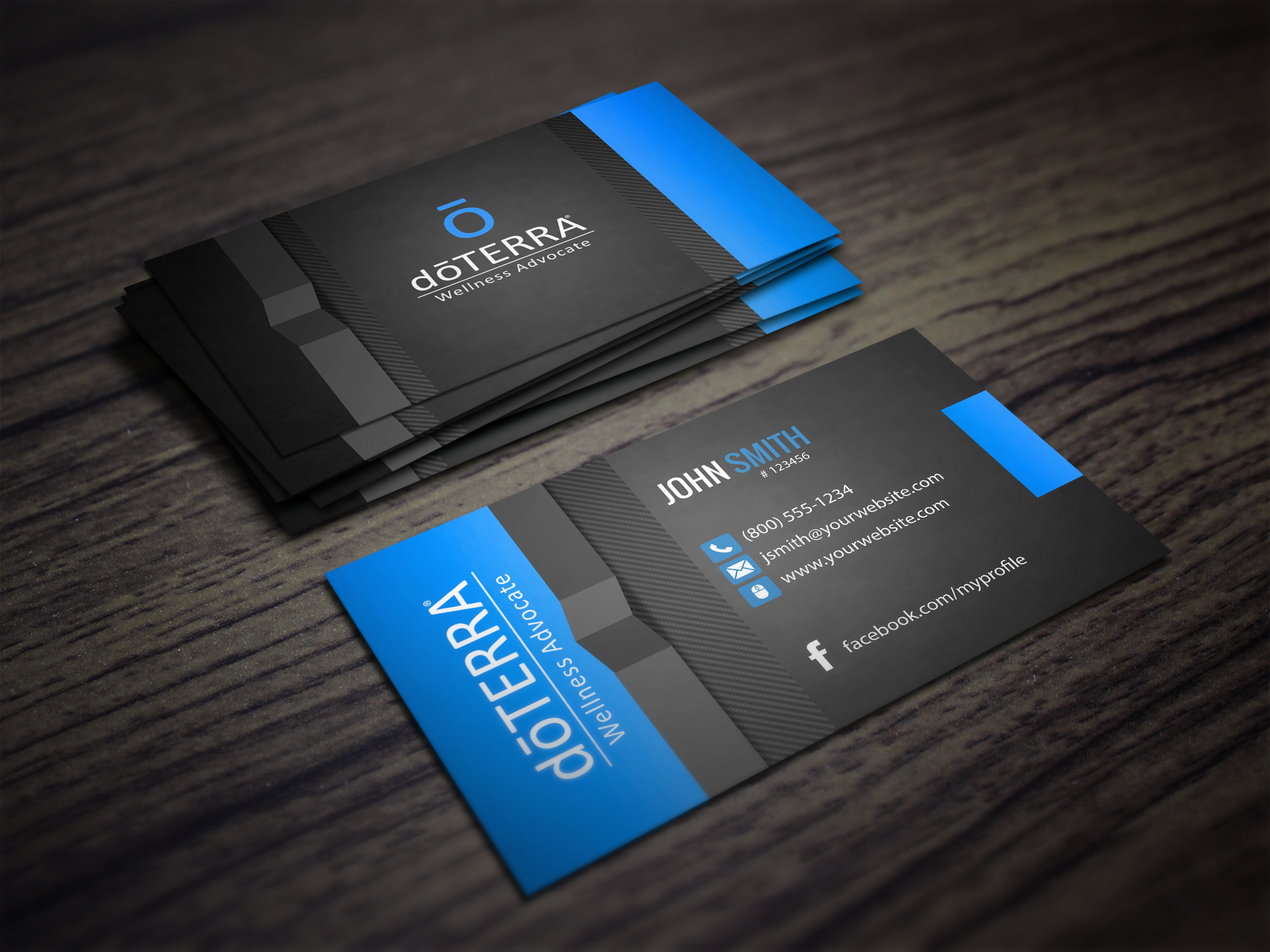 Customizable Blue Doterra Business Card Template Design Da Terra