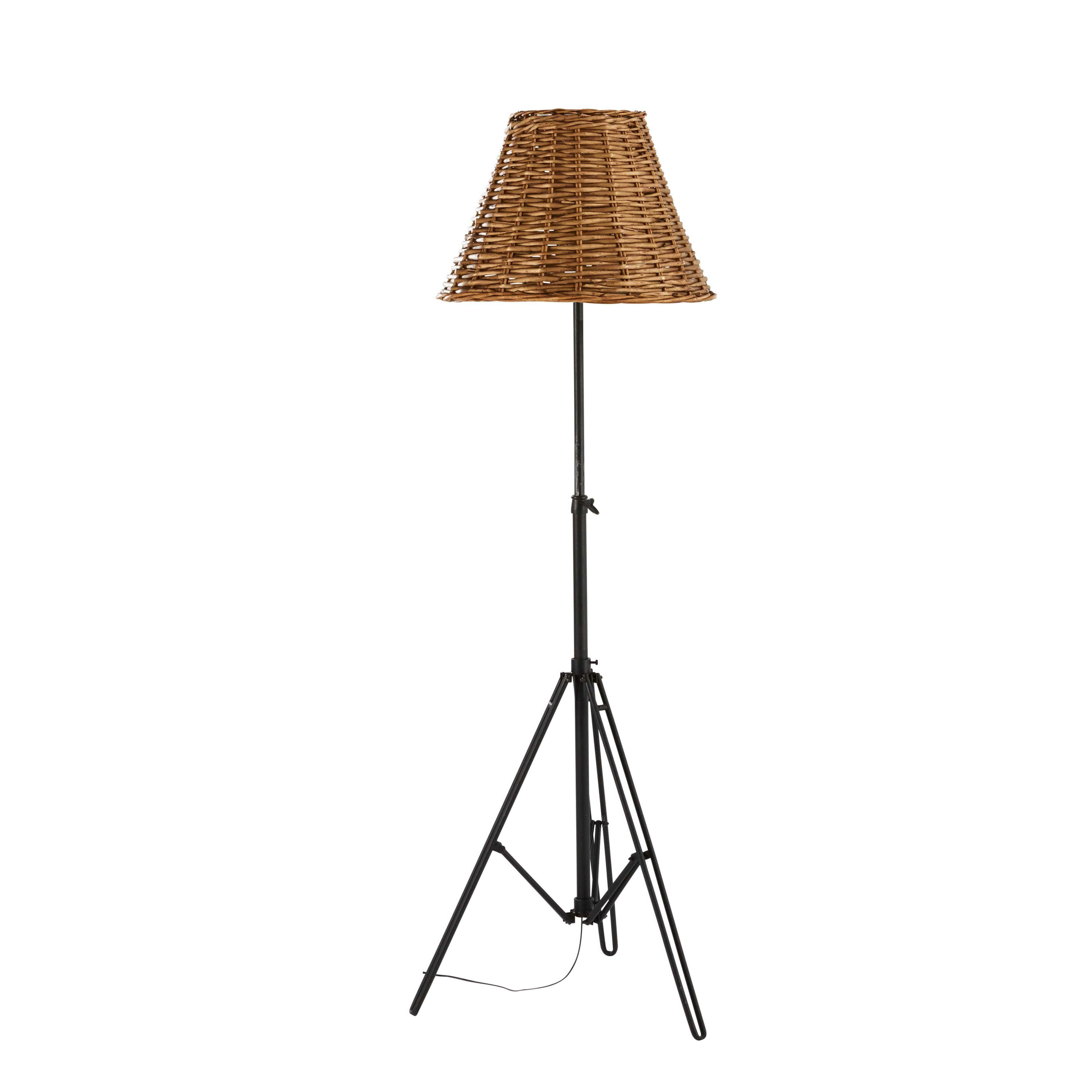 Verstellbare Stehlampe aus Rattan und Metall H.184cm PARKER Jetzt ...