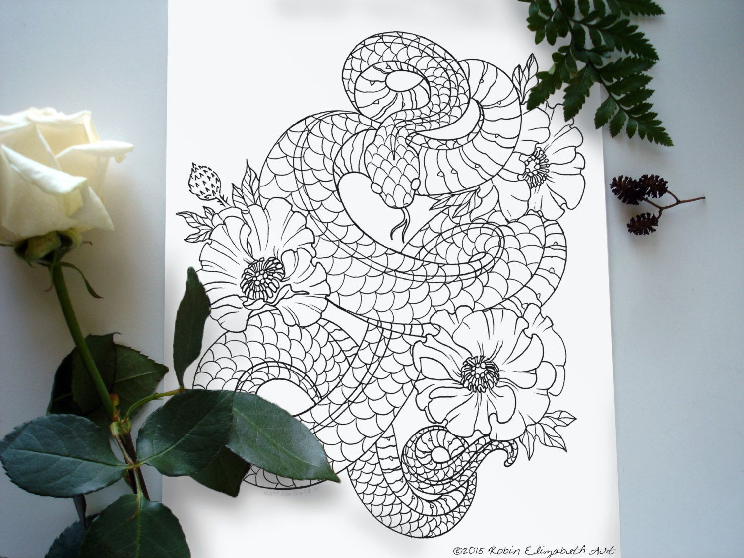 Dragon Coloring Pages For Adults Pdf : Adult coloring book floral tattoo digital download pdf adult