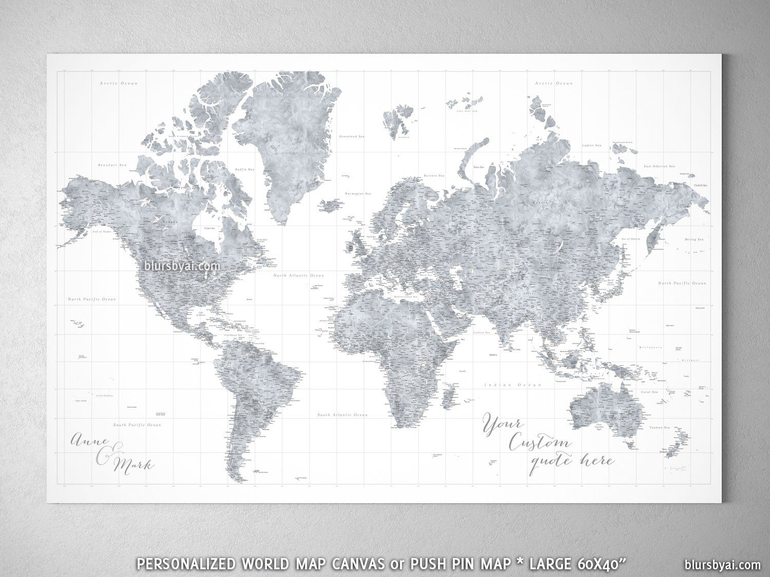 Personalized large highly detailed world map canvas print or personalized large highly detailed world map canvas print or push pin map grayscale watercolor jimmy gumiabroncs Gallery
