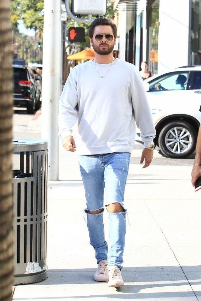0dcc24fb5 Scott Disick wearing Common Projects Pink Original Achilles Sneakers ...