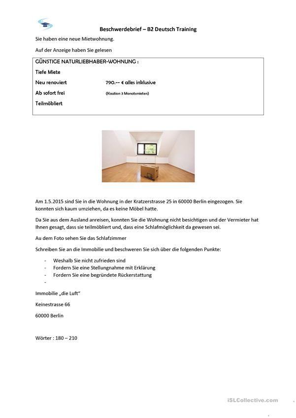 Beschwerdebrief B2 Prufung Brief Aufsatz Schreiben Deutsch Lernen