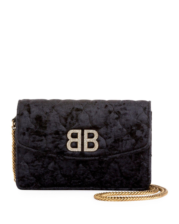 Balenciaga Wallets Bb Crystal Velvet Wallet On Chain Balenciaga Wallet Balenciaga Card Holder Leather