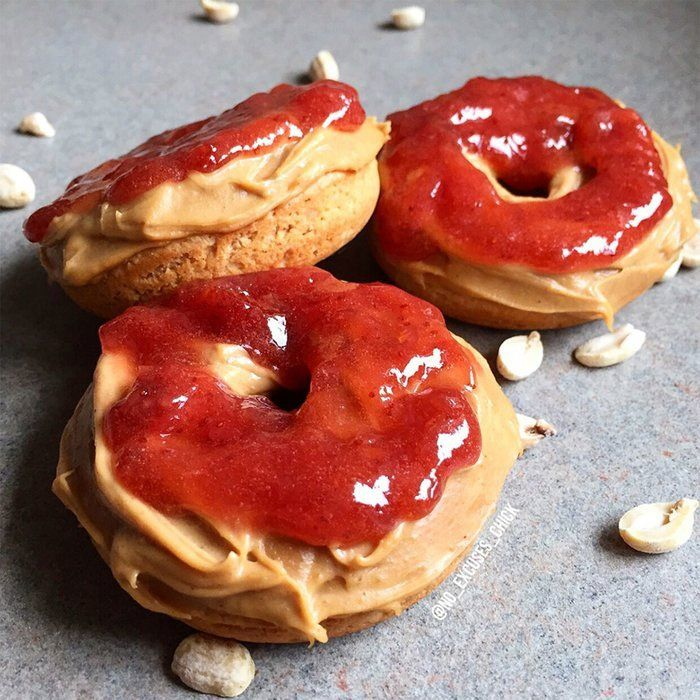 Peanut Butter And Jelly Protein Donuts #proteindonuts