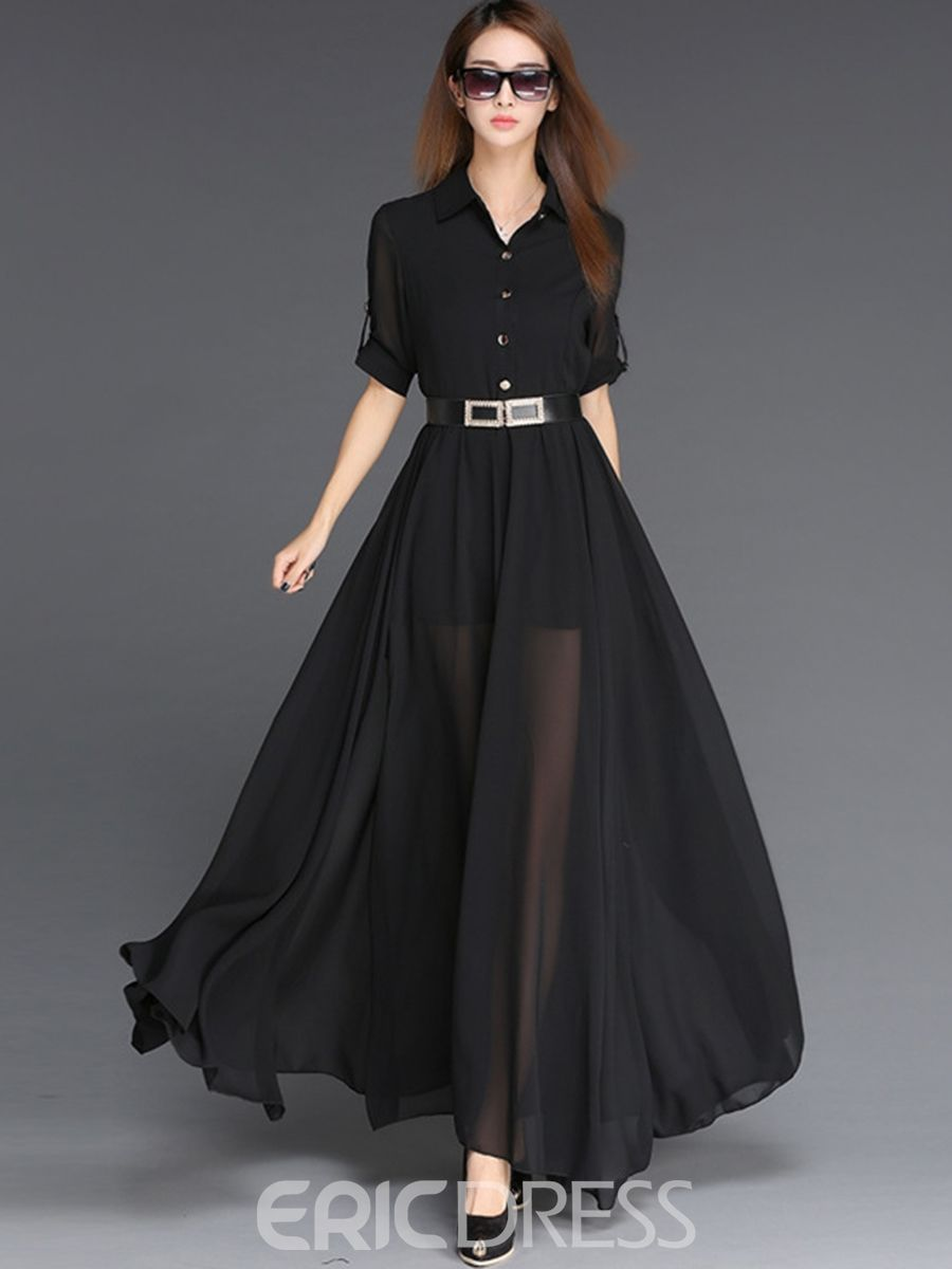 Ericdress Solid Color Half Sleeve See Through Maxi Dress 32 24 Black Chiffon Dress Womens Maxi Dresses Maxi Dress With Sleeves [ 1200 x 900 Pixel ]