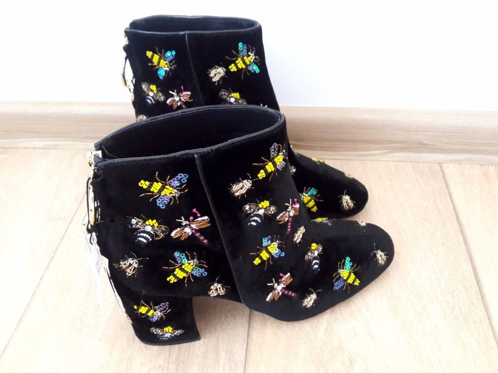 Black Ankle Beaded  Boots
