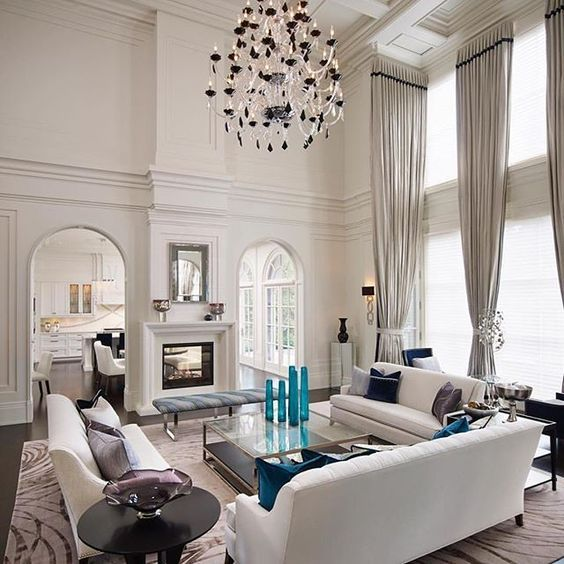 33 Traditional Living Room Design: Double Height Living Room With Traditional Moldings And