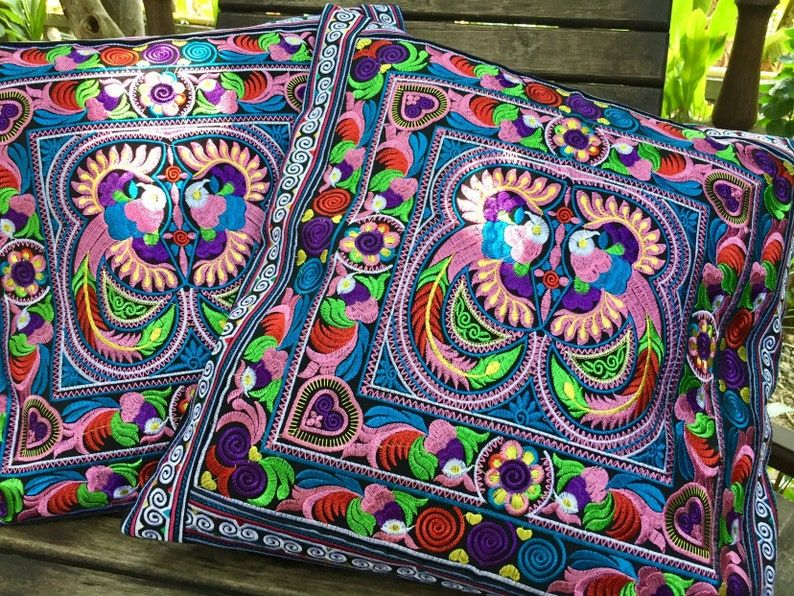 Boho Embroidery Bird Motif Flowers Tribal Hmong Th